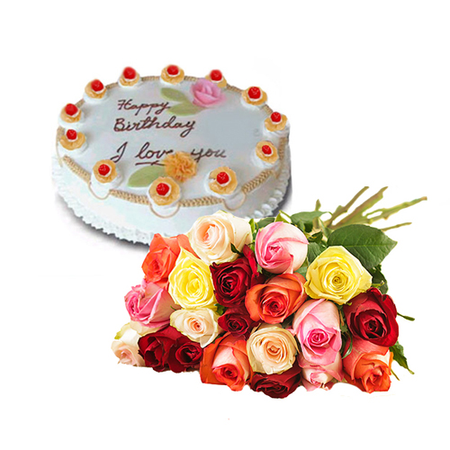 15 Mix Roses 1 Kg Pineapple Cake