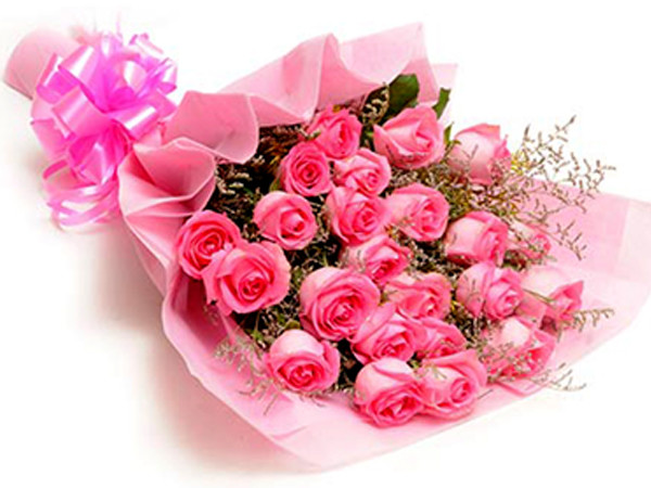 Bunch Of 21 Pink Roses Tissue Packing Cake For You